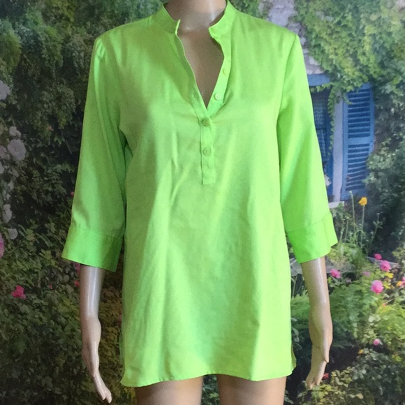WESTBOUND PETITES Tops - WESTBOUND PETITES : 3/4-sleeve green TOP, size MP.